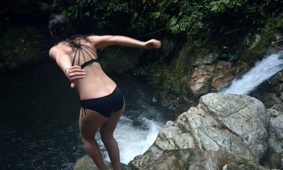 swimming in the waterfall of the Lost City