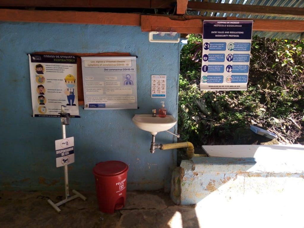 En los campamentos de Ciudad Perdida hay puntos de desinfección. expotur
